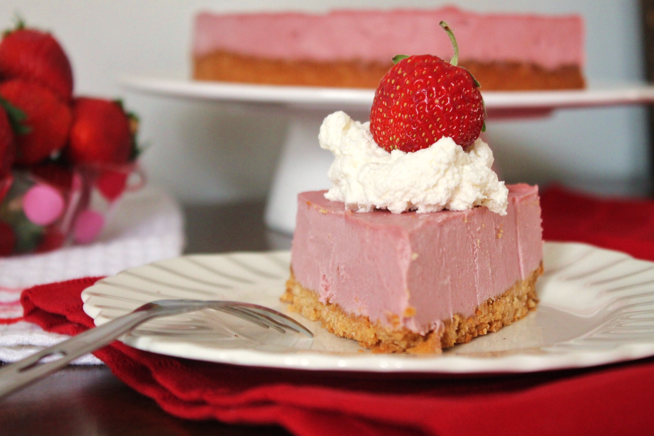 No Bake Strawberry Cheesecake -gluten free, dairy free, paleo!